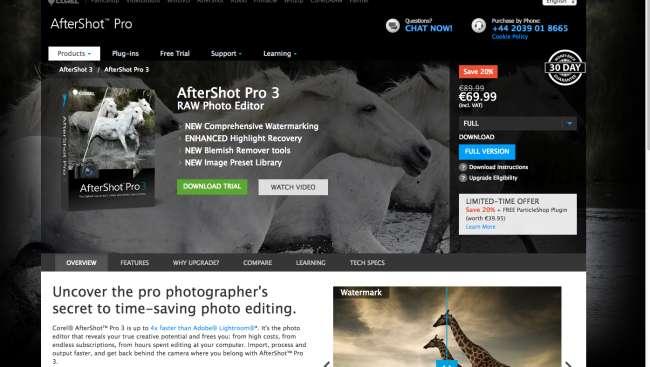 photo management software: screenshot of Corel AfterShot 3 homepage