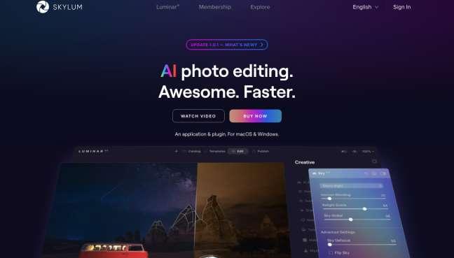 photo organizer software: screenshot of Skylum homepage