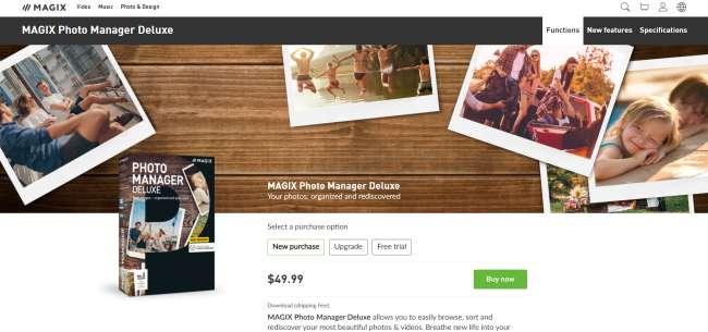 photo management software: screenshot of MAGIX homepage