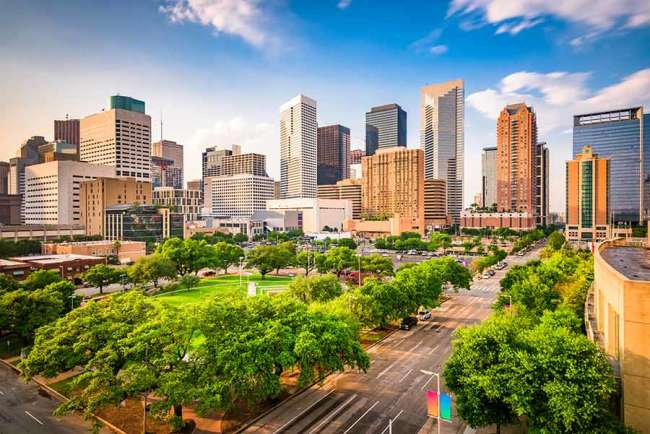 Branding agency Houston: view of downtown Houston and Root Square