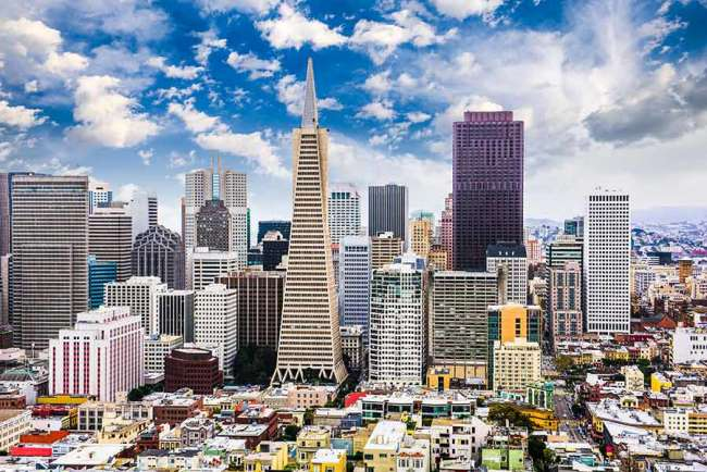 Cluster of business buildings and digital agencies in San Francisco