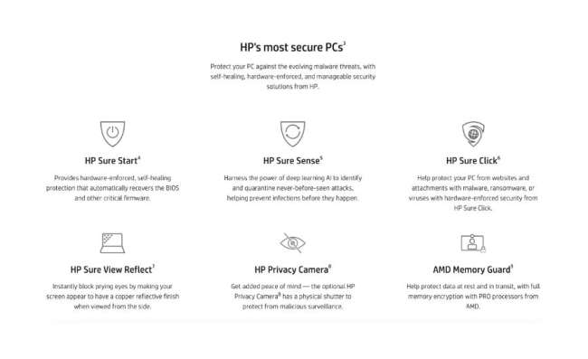 HP's list of security features