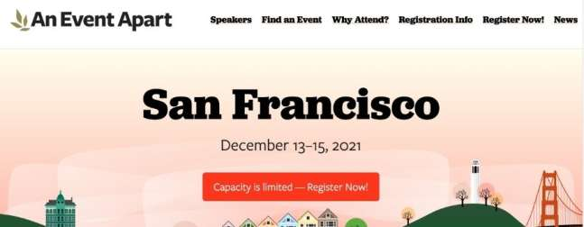 Web development and design conference An Event Apart's website screenshot.