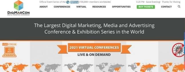 digital marketing conference digimarcon world 2021 website screenshot