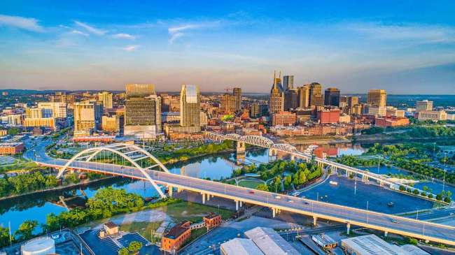 Aerial view of downtown Nashville at sunset