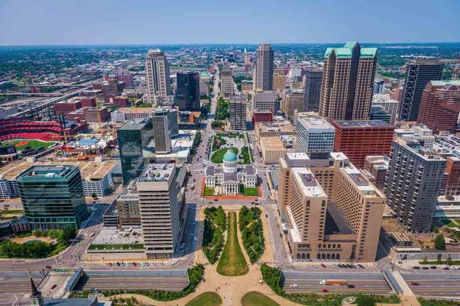 skyline of St. Louis city from above