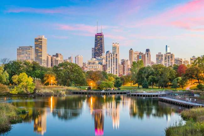 Chicago's skyline from Lincoln Park