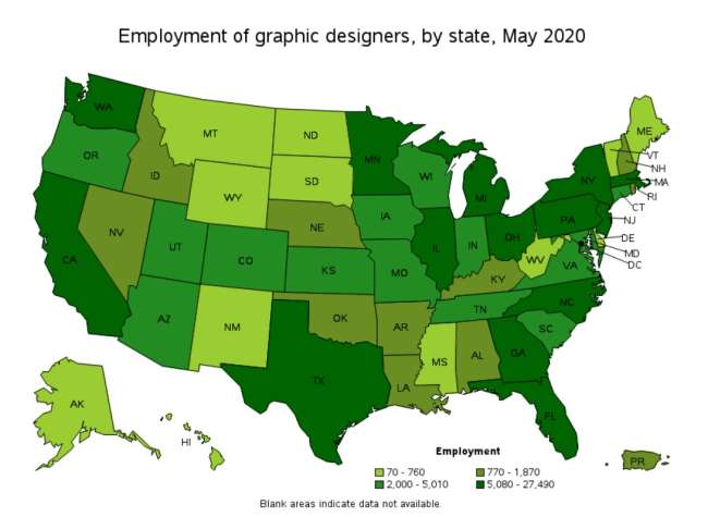 Logo design services Texas: employment of graphic designers by state in 2020