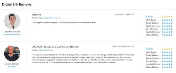 web development company in Atlanta: Digital Silk reviews on DesignRush