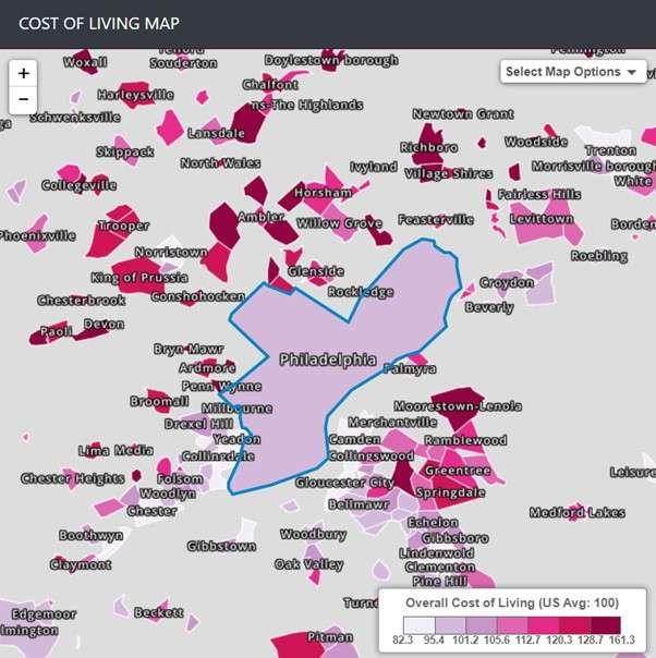 Philadelphia's cost of living