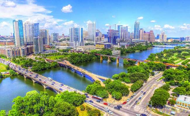 Austin's skyline over review and bridges