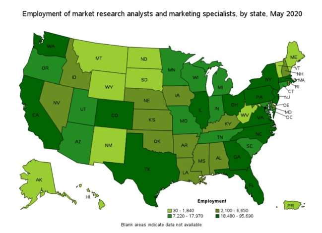 seo agency in Washington dc: employment of marketing specialists by area