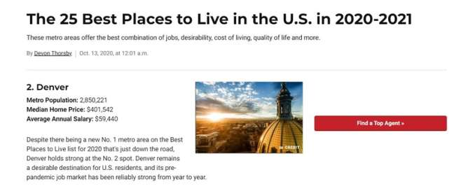 Denver website developers: US News best places to live in the US rankings
