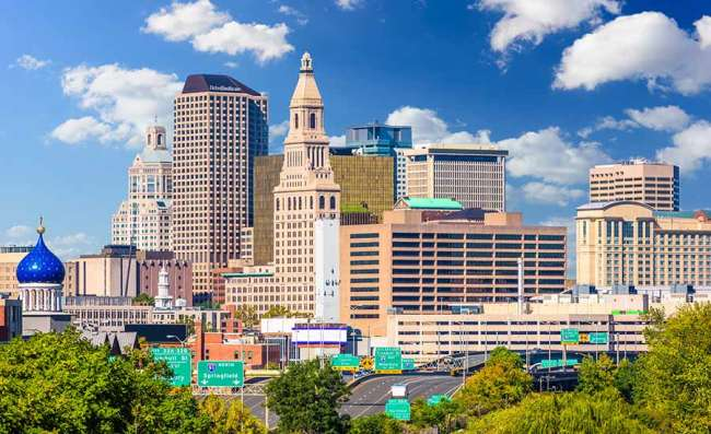 downtown Hartford in Connecticut state