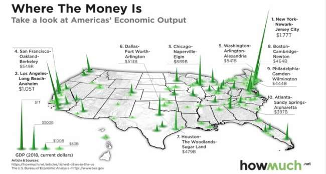 seo agency Chicago: map of the richest cities in the United States