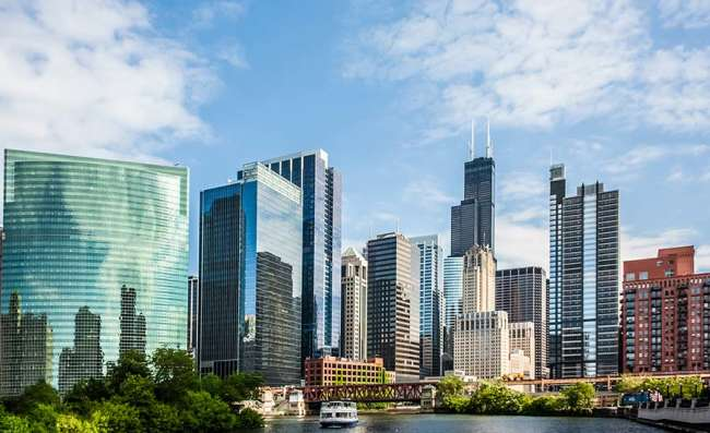 view of downtown Chicago from the river