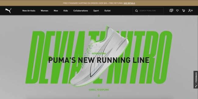 Puma Nitro fashion website design
