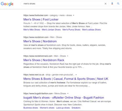 eCommerce SEO agencies: Google results on men's shoes