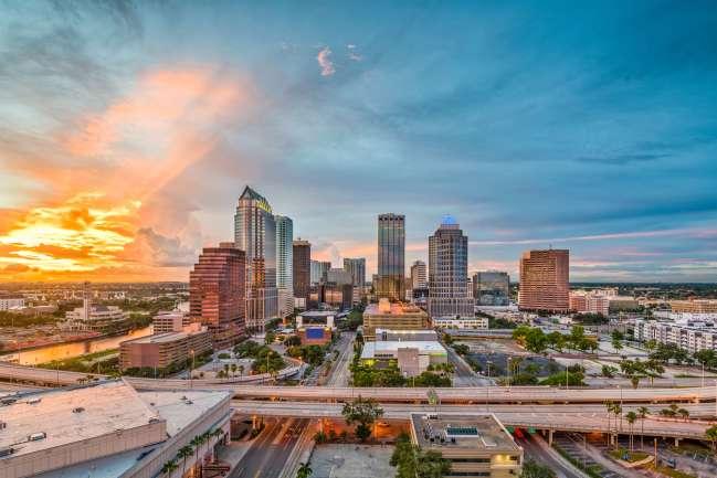 Tampa's skyline at sunset