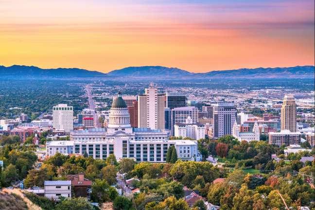 Utah's downtown skyline at sunset