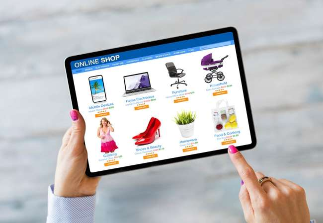 shopping cart, tablet and smartphone with Amazon display