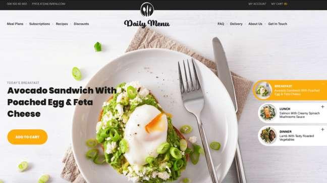 Daily Menu Food & Drink App and Website Design