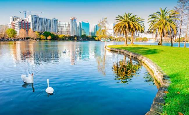 view of lake Eola park in Orlando