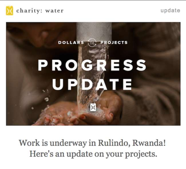 Charity: water email marketing