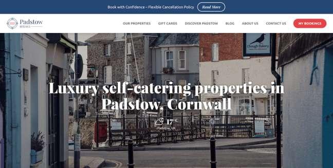 Padstow Breaks Travel Website Design