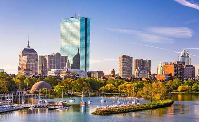 Boston's skyline on the river 