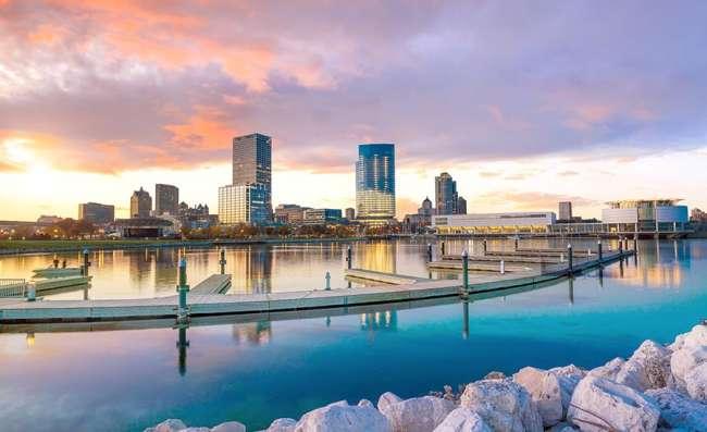 View of Milwaukee and lake Michigan