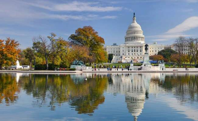 View of Capitol building in Washington DC