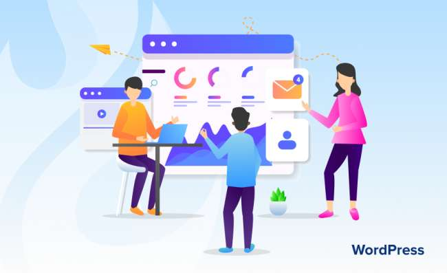 Illustration representing a team of developers working in a WordPress development company