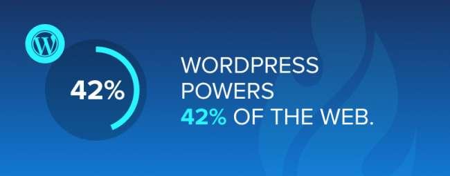 WordPress powers 42% of the web. 