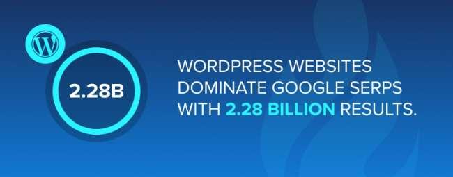WordPress websites dominate Google SERPs with 2.28 billion results.