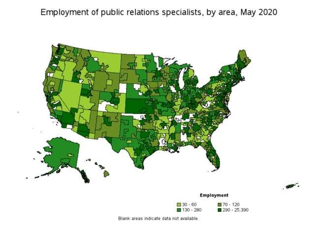 pr agencies in dallas: employment of PR specialists by area, 2020