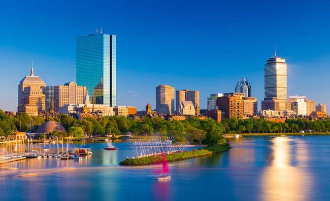 the business district in Boston