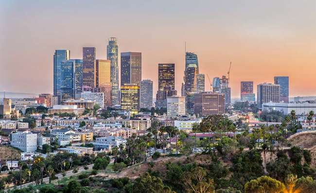 aerial view of Los Angeles city at sunset