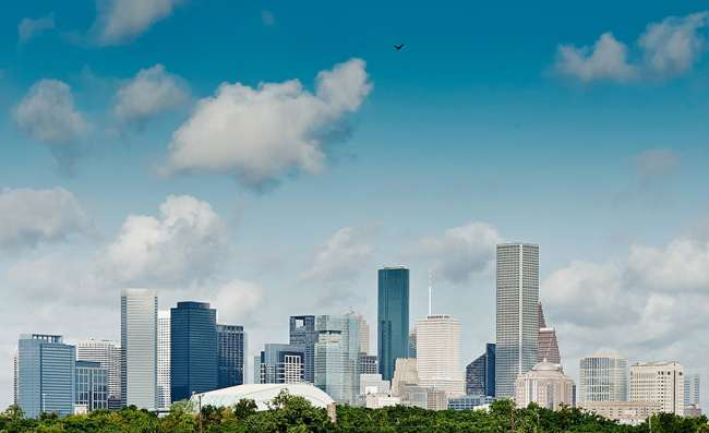 aerial view of business district in Houston