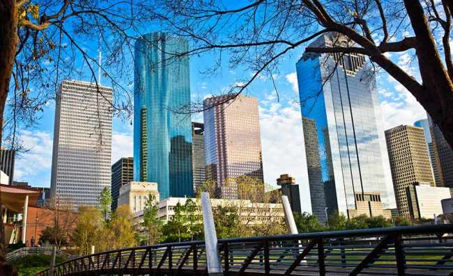 view of downtown Houston on a sunny day