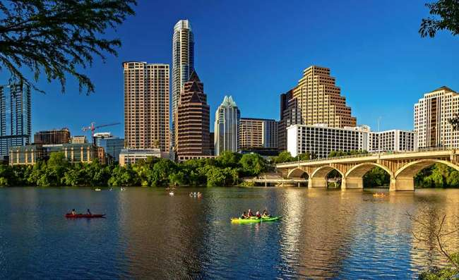 view of Austin's business district and river