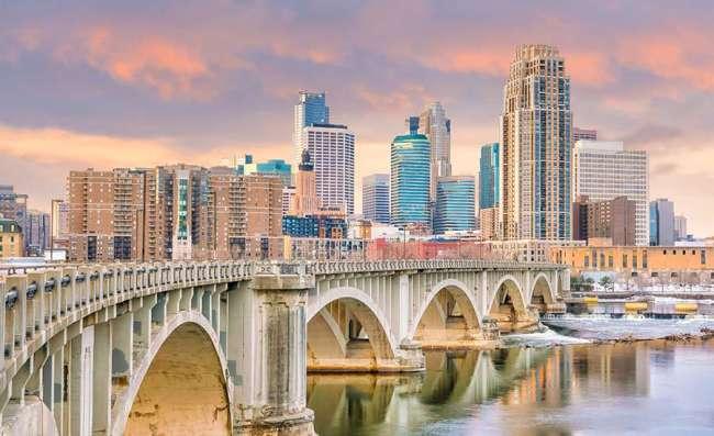 view of Minneapolis ar sunset