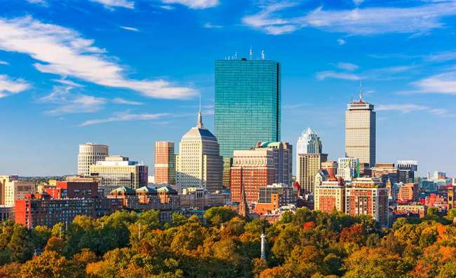 view of Boston on an autumn day
