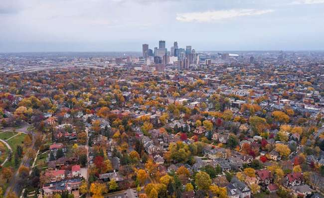 skyline of Minneapolis in the fall