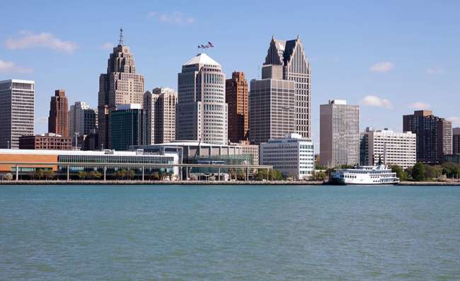 view of Detroit city in Michigan state