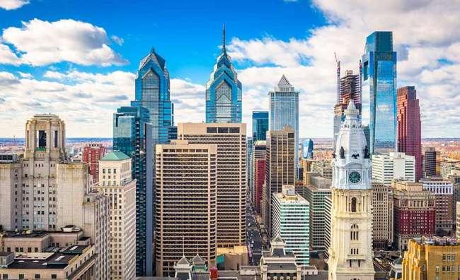 Philadelphia skyline on a sunny day