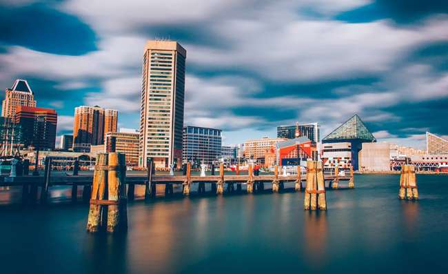 Baltimore skyline on a cloudy day