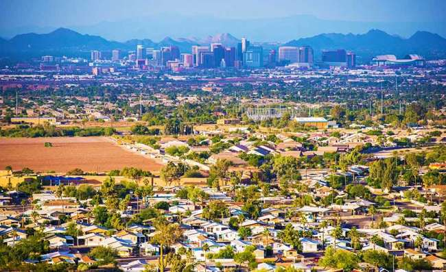drone view of Phoenix