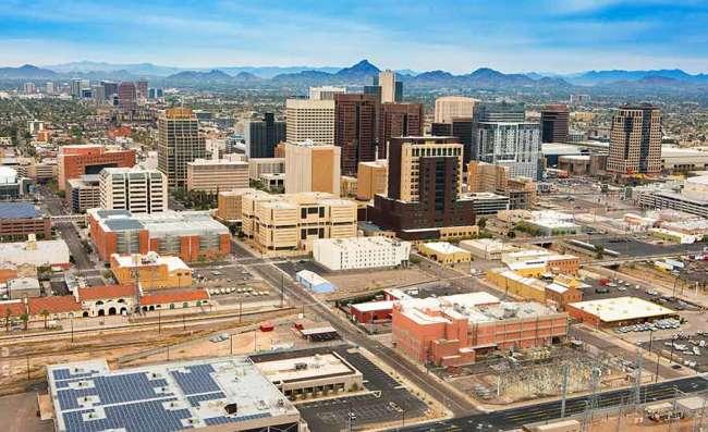 drone view of Phoenix, Arizona