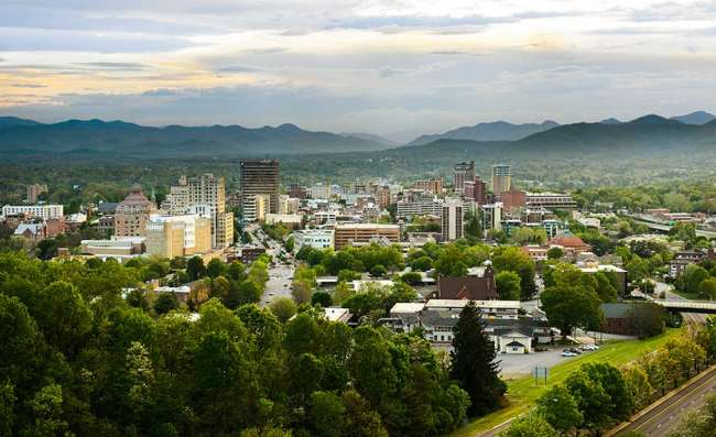 view of Asheville city in North Carolina